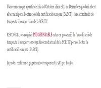Certificació EABCT i Reacreditació SCRITC