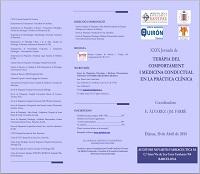 XXIX JORNADA DE TERAPIA DEL COMPORTAMENT I MEDICINA CONDUCTUAL EN LA PRACTICA CLINICA